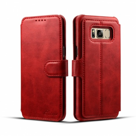 Leather Cover Wallet Back Case with Card Cases for Samsung GALAXY S8- Red