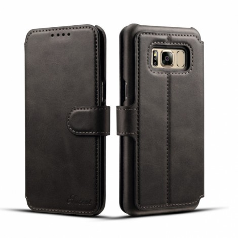 Leather Cover Wallet Back Case with Card Cases for Samsung GALAXY S8 Plus- Black