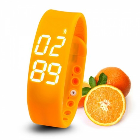 W2 USB Multifuntional Smart Wristband with Timer/Temperature/3D Pedometer/Sleep Monitor/Calorie Functions Orange