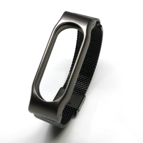 Stainless Steel Watch Strap with Metal Frame for Xiaomi Mi Band 2 Black