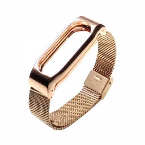 Stainless Steel Watch Strap with Metal Frame for Xiaomi Mi Band 2 Roes Gold