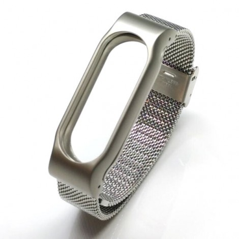Stainless Steel Watch Strap with Metal Frame for Xiaomi Mi Band 2 Silver