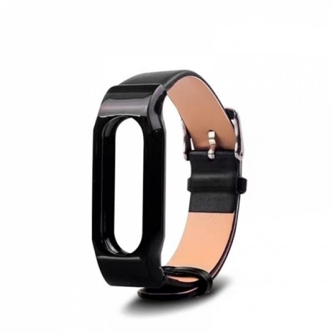 Replacement Leather Bracelet Wrist Strap Smartband for Xiaomi MiBand 2 Black