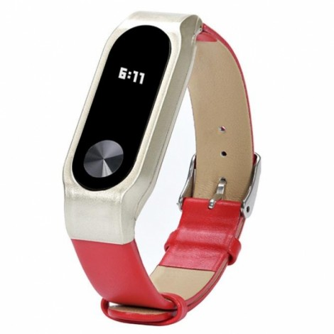 Replacement Leather Bracelet Wrist Strap Smartband for Xiaomi MiBand 2 Red