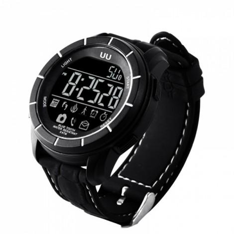 UU 50M Water Resistance Silicone Multifunctional Smart Watch Black