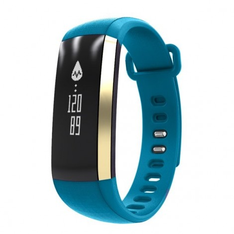 IP67 Waterproof Oximeter Blood Pressure Heart Rate Monitor Bluetooth Sport Smart Bracelet Watch Blue