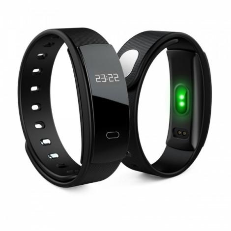 QS80 Intelligent Blood Pressure Heart Rate Blood Oxygen Fitness Sports Bracelet Black