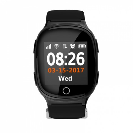 "D100 Smart MT2503A 1.54"" Touch Screen Heart Rate Monitor GPS WiFi Watch Black"