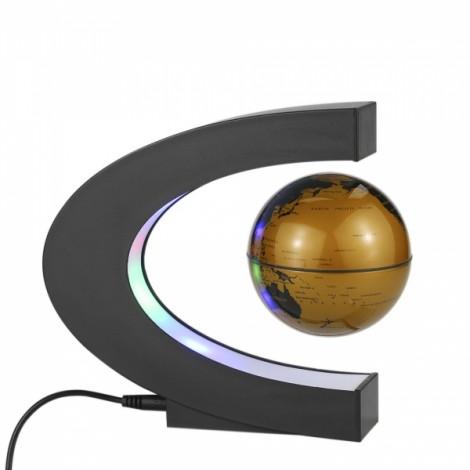 C Shape Magnetic Levitation Floating World Map Globe Rotating with LED Light Black & Gold