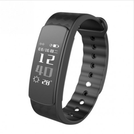 IWOWN i3HR Bluetooth 4.0 Smart Bracelet Watch with Sleep Monitor Step Calorie Counter Sedentary Reminder - Black