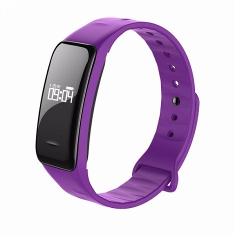 C1 Blood Pressure Oxygen Heart Rate Pedometer Smart Bracelet Watch for Android IOS Purple