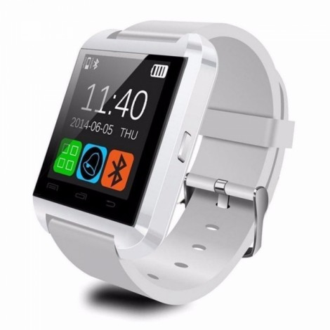 U8 Bluetooth Touch Screen Smart Wrist Watch for Android IOS Samsung iPhone other Phones - White