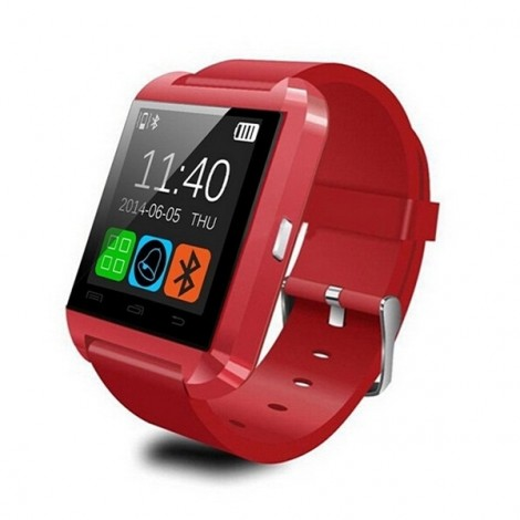 U8 Bluetooth Touch Screen Smart Wrist Watch for Android IOS Samsung iPhone other Phones - Red