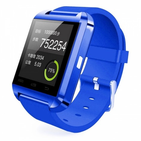 U8 Bluetooth Touch Screen Smart Wrist Watch for Android IOS Samsung iPhone other Phones - Blue