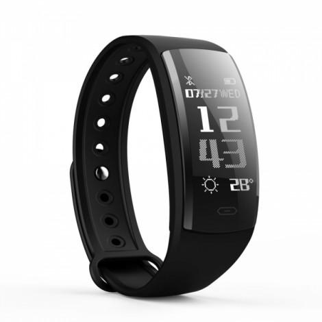 QS90 0.96 Inch TFT OLED Bluetooth V4.0 Multifunctional Heart Rate Sensor Blood Oxygen Smart Bracelet Wristband Black