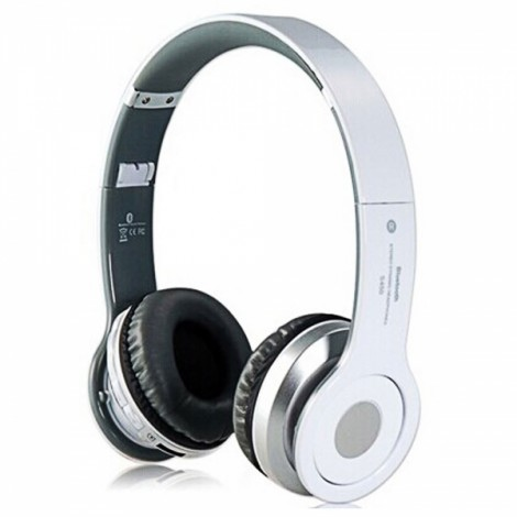 Foldable On-ear Wireless Stereo Bluetooth Headphones Headset with MP3/FM/TF Card Reader White
