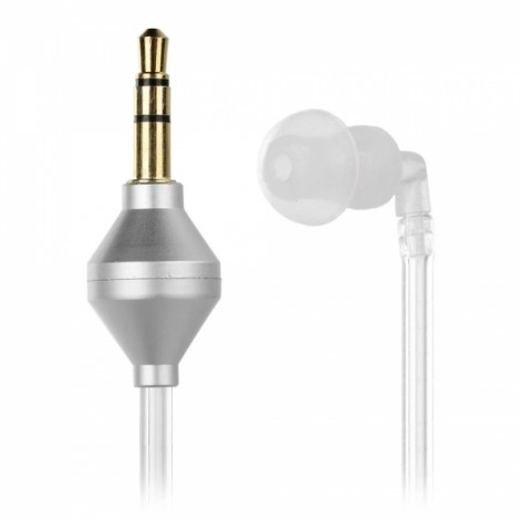 Universal 3.5mm Plug Vacuum Air Duct Spring In-Ear Earhook Earphone Transparent + Silver