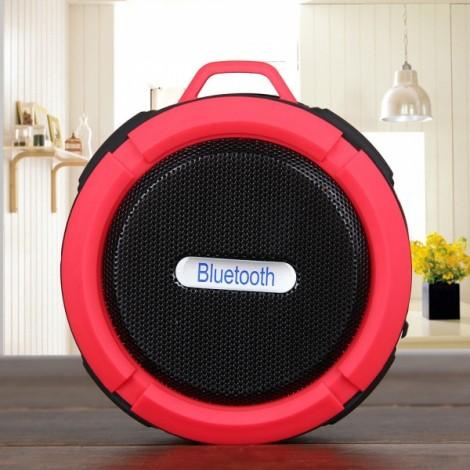 Portable Waterproof Bluetooth 3.0 Speaker Outdoor Wireless Stereo Speaker with Microphone/Sucker/Snap Hook Red & Black