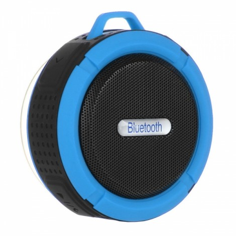 Portable Waterproof Bluetooth 3.0 Speaker Outdoor Wireless Stereo Speaker with Microphone/Sucker/Snap Hook Blue & Black