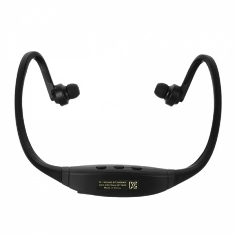 Sports Style Bluetooth Stereo Headphone with Mic/Music Play/FM/TF Slot Black