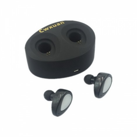Cwxuan Sports Mini Wireless Stereo In-ear Bluetooth Headset with Voice Prompt Black
