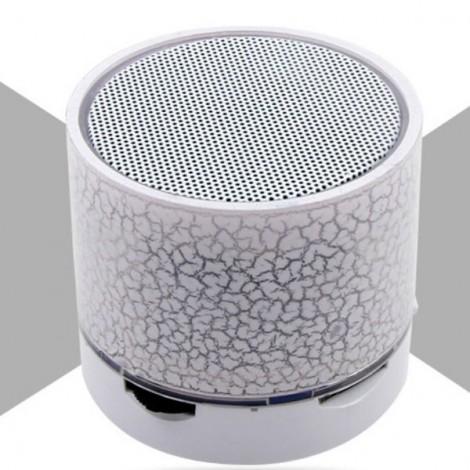 S10 Cracked Pattern A9 LED Mini Wireless Bluetooth Speaker White