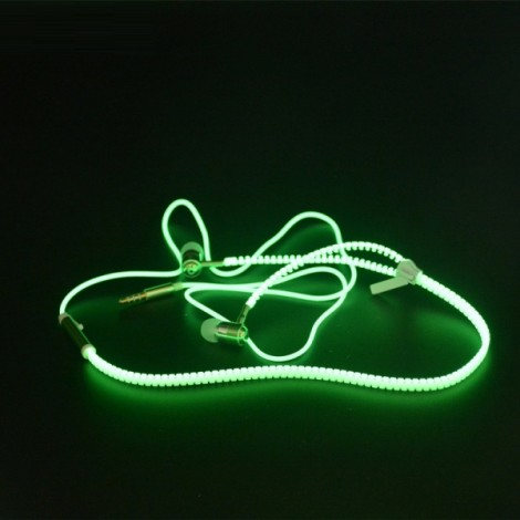 Glow In The Dark Glowing Luminous Light Metal Zipper Style 3.5mm Earphone Yellow