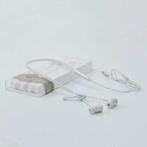 Glow In The Dark Glowing Luminous Light Metal Zipper Style 3.5mm Earphone White