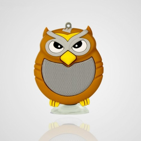 Owl Shaped Mini Bluetooth Speaker Stereo Heavy Bass Outdoor Loudspeaker with Sucker Phone Holder Brown