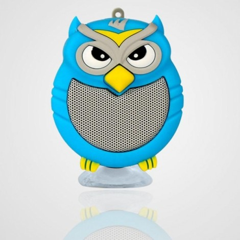 Owl Shaped Mini Bluetooth Speaker Stereo Heavy Bass Outdoor Loudspeaker with Sucker Phone Holder Blue
