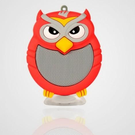 Owl Shaped Mini Bluetooth Speaker Stereo Heavy Bass Outdoor Loudspeaker with Sucker Phone Holder Red