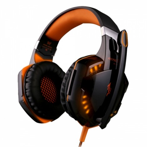 KOTION EACH G2000 Stereo Noise Cancelling Gaming Headset with Mic HiFi Driver LED Light for PC Orange