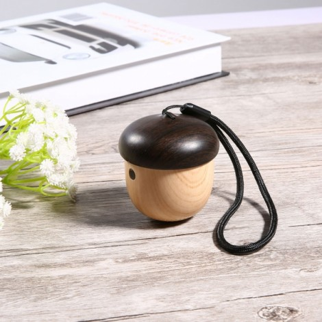 Portable Mini Nut Design Wireless Bluetooth Speaker Built-in Microphone with Sling Wood Color