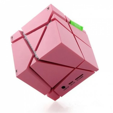 Magic Cube Bluetooth Stereo Subwoofer Card Wireless Portable Bluetooth Speaker Qone Pink