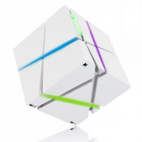 Magic Cube Bluetooth Stereo Subwoofer Card Wireless Portable Bluetooth Speaker Qone White