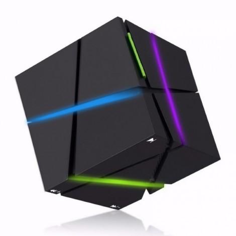 Magic Cube Bluetooth Stereo Subwoofer Card Wireless Portable Bluetooth Speaker Qone Black