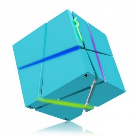 Magic Cube Bluetooth Stereo Subwoofer Card Wireless Portable Bluetooth Speaker Qone Blue