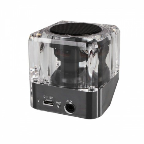B6 LED Lighting Speaker Crystal Case Portable Speaker Wireless Bluetooth Stereo Speaker with Mic Built-in 400mAh Lithium Battery Black