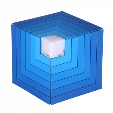Funny Cubic Rainbow luminous Bluetooth Speaker LED flashing Light Stereo Wireless Subwoofer with Mic TF card/Aux-in Cube Speaker Blue