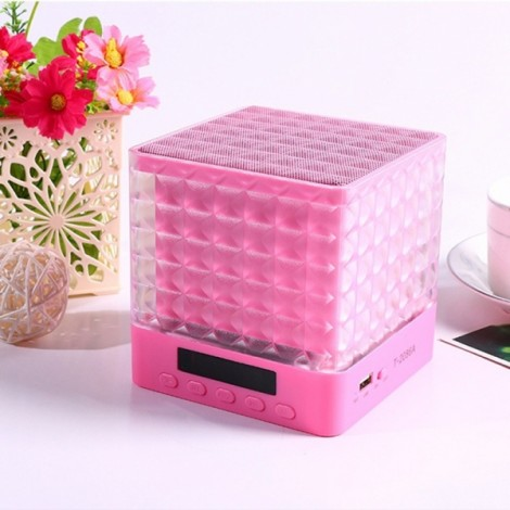 New Mini Cube Square LED Light Bluetooth Wireless Speaker Woofer Radio FM Handfree Portable Enceinte Bluetooth Portable Puissant Brown