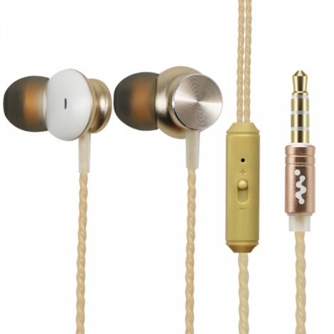 Q2 Metal Mega Bass In-ear Ear Plug Germany HIFI Wire Control Volume Adjustment Universal Headset Golden