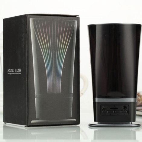 Colorful Small Waist Shape LED Bluetooth Speaker with FM Black