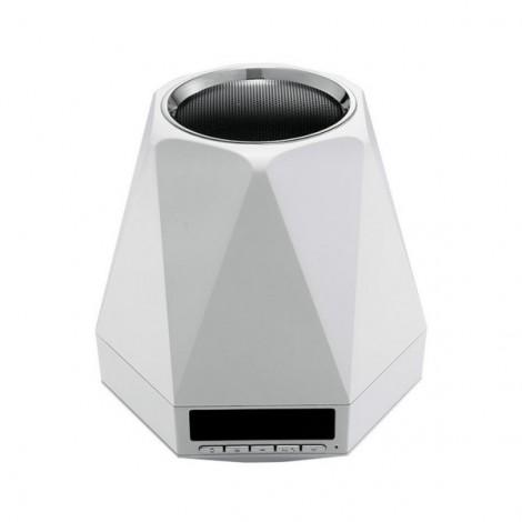 Alarm Clock FM Radio Portable TF Card Music Player Hands Free Calling Colorful Lighting Wireless Bluetooth Speaker White