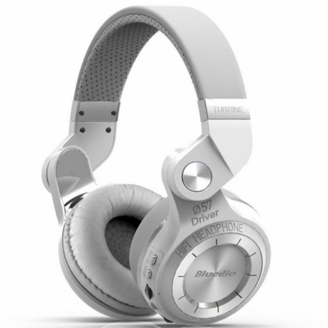 Bluedio T2 Plus Wireless Bluetooth V4.1 Stereo Headphones Headset Support TF Card FM Function - White