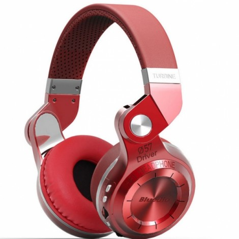 Bluedio T2 Plus Wireless Bluetooth V4.1 Stereo Headphones Headset Support TF Card FM Function - Red