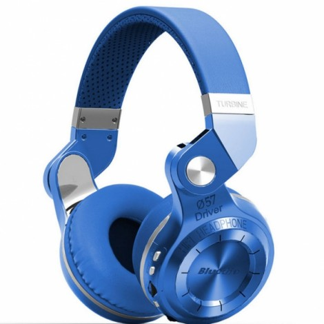 Bluedio T2 Plus Wireless Bluetooth V4.1 Stereo Headphones Headset Support TF Card FM Function - Blue