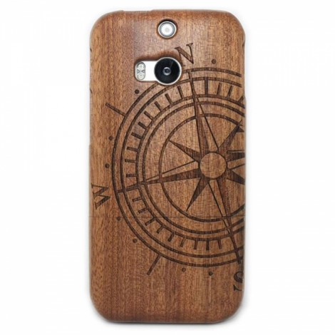 Retro Compass Pattern Detachable Protective Wood Back Case for HTC M8 Brown