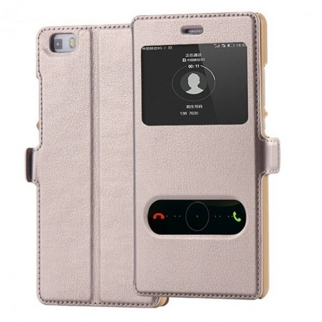 PU Leather Flip Open Smart Window Protective Case for Huawei Ascend P8 Lite Golden