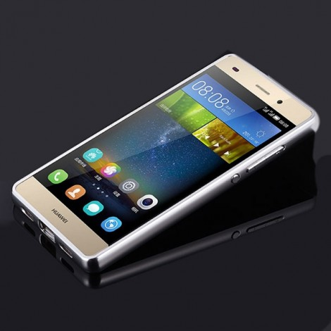 Aluminum Metal Mirror Case Back Cover for Huawei P8 Lite Silver