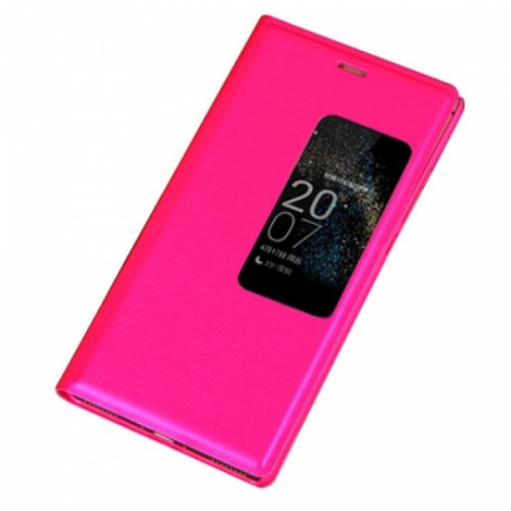 Smart View Auto Sleep Function Flip Cover Leather Case for Huawei Ascend P8 Rose Red